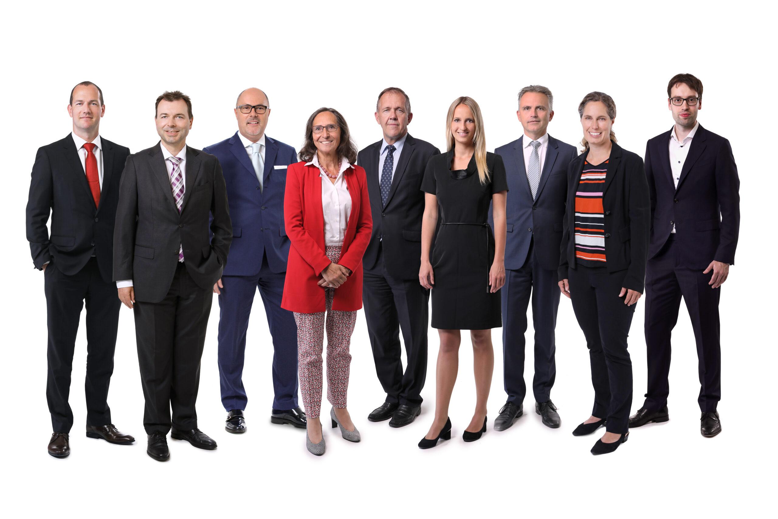 v.l.n.r.: Martin A. Meyer, Dr. Marco Felder, Dr. Marcello Scarnato, Dr. Irene Salvi, Dr. Urs Gähwiler, Mag. Amanda Ess, Bernhard Büchel, Dr. Heinz Frommelt, Matthias Langer